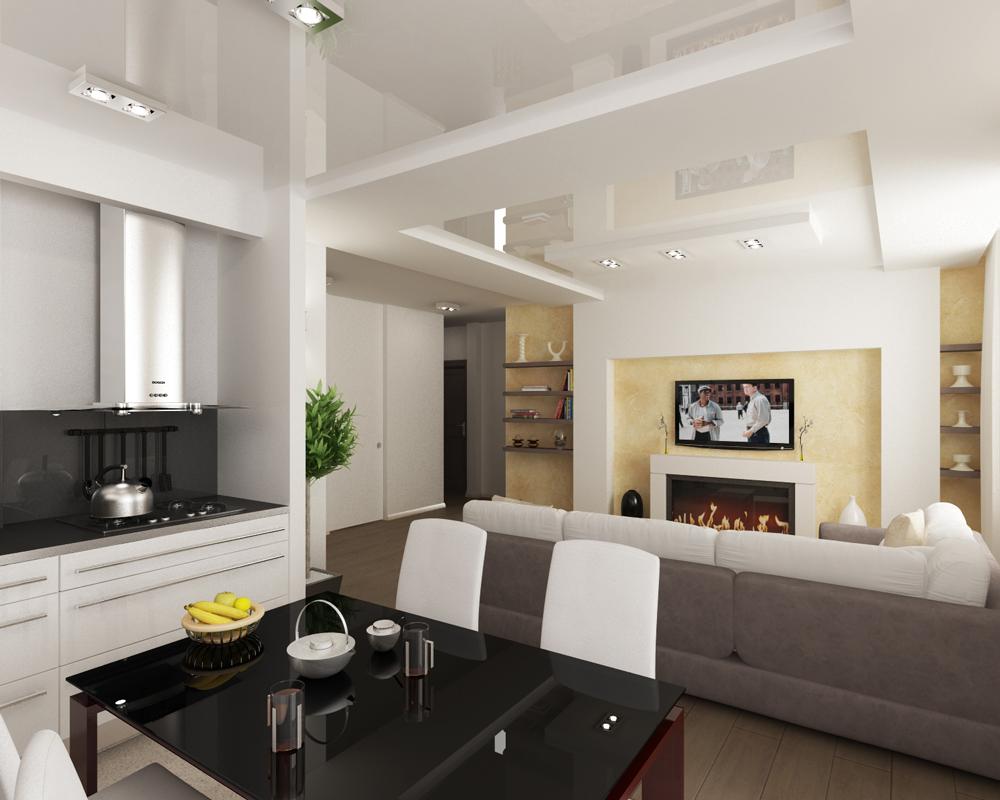 разноуровневый потолок над гостиной, совмещённой с кухней