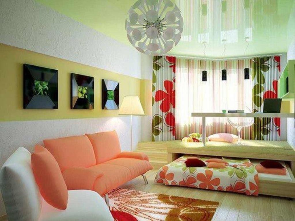 Яркий оригинальный дизайн квартиры с подиумом