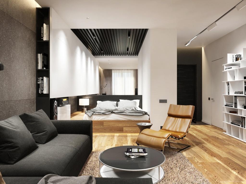 Спальня-гостиная в стиле хай-тек