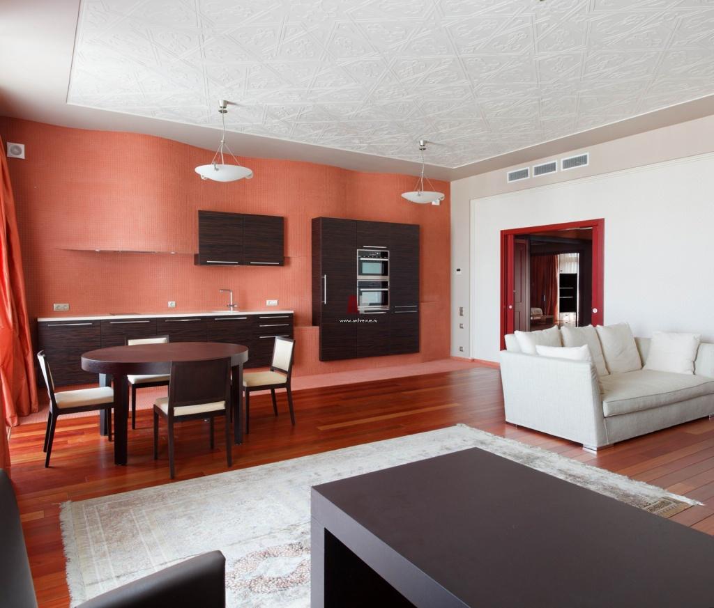 терракотовый интерьер в квартире-студии