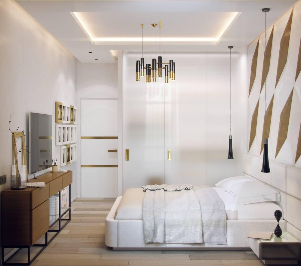 Спальня в стиле модерн с подвесным потолком