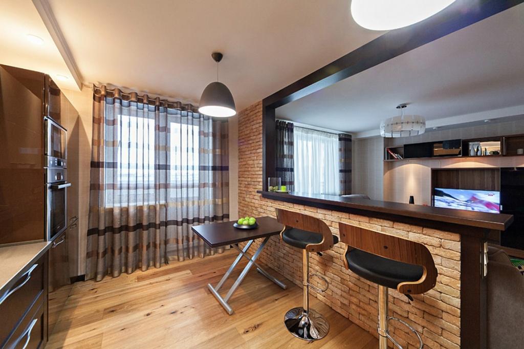 использование барной стойки в квартире-студии