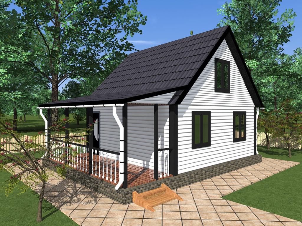 Двухэтажный садовый дом с верандой