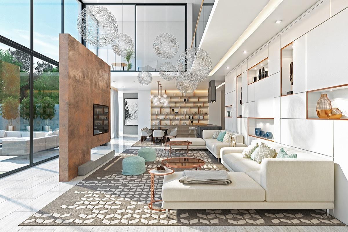 Планировка и дизайн гостиной в двухкомнатной квартире