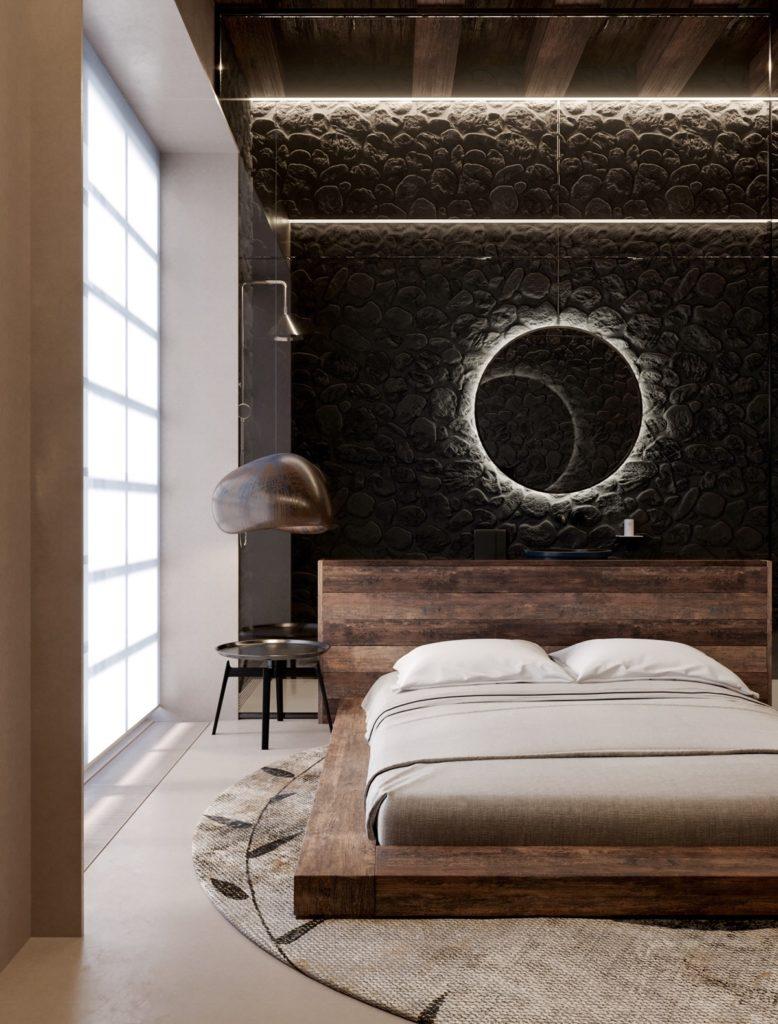 Темные оттенки в спальне