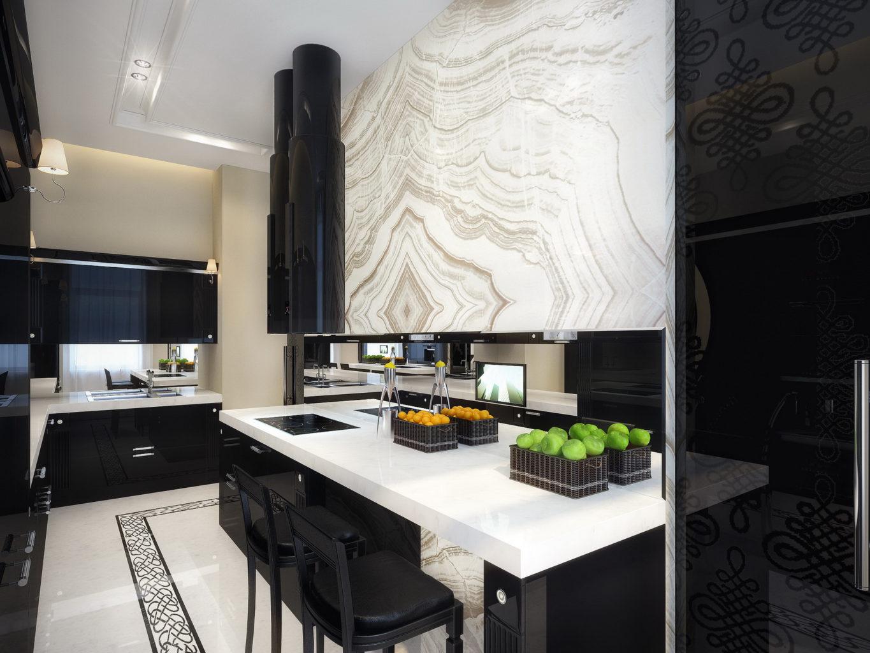 Дизайн интерьера черно-белой кухни