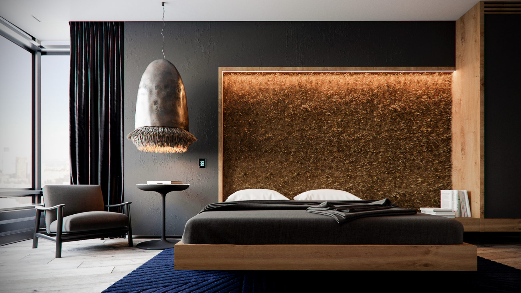 шикарная спальня золото