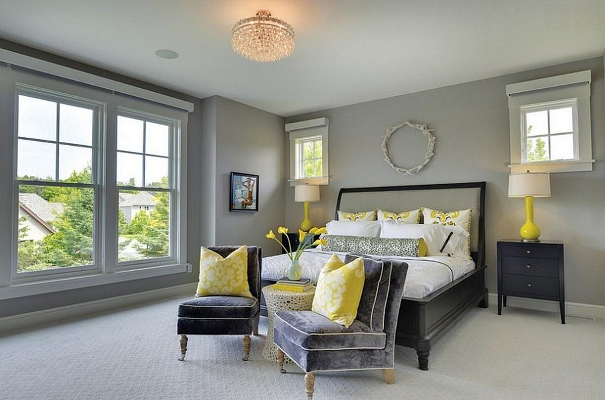 серо-желтая спальня