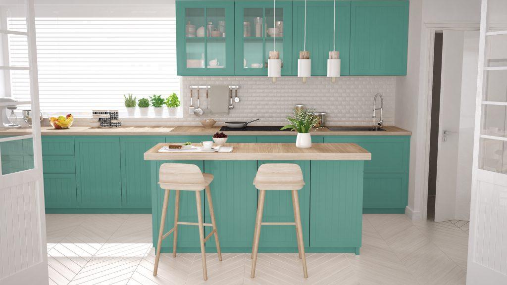 Яркая кухня в цвете тиффани