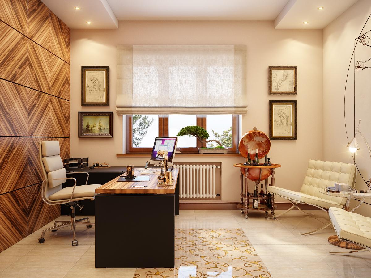 Дизайн интерьера кабинета в трехкомнатной квартире