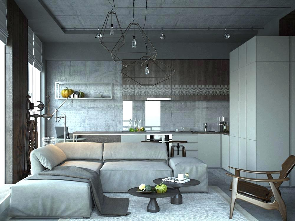 Дизайн интерьера кухни с диваном.